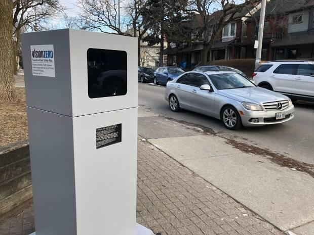 The city moved the automated speed cameras to new locations at the beginning of June. Signs have been placed at the new locations to notify drivers that the devices are nearby. (John Rieti/CBC - image credit)