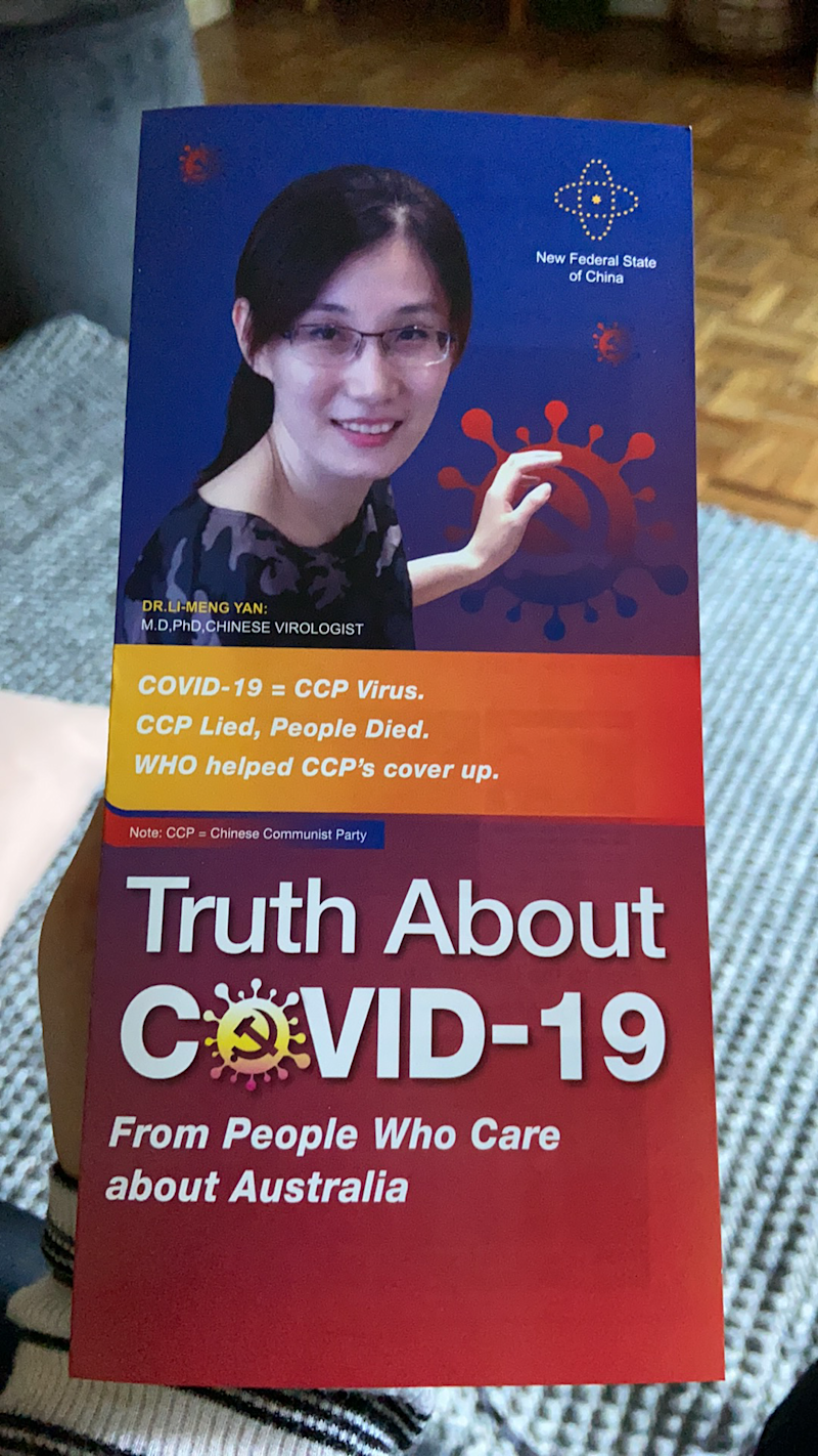 Photo shows Dr Li-Meng Yan is on the front of the booklet.