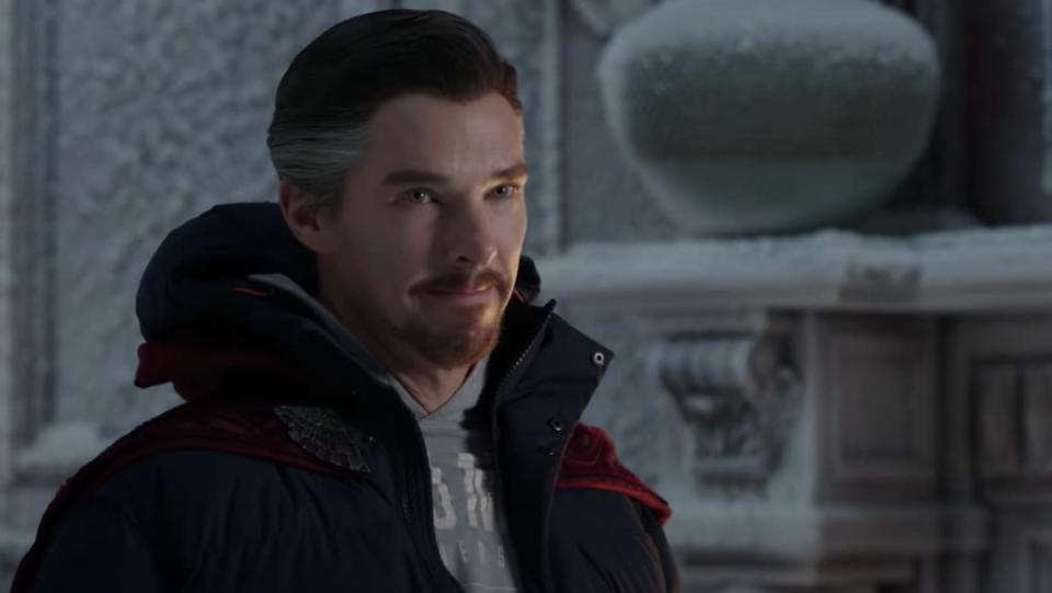 Doctor Strange in a cape and winter clothes inside a snow-covered Sanctum Santorum for Marvel's Multiverse article