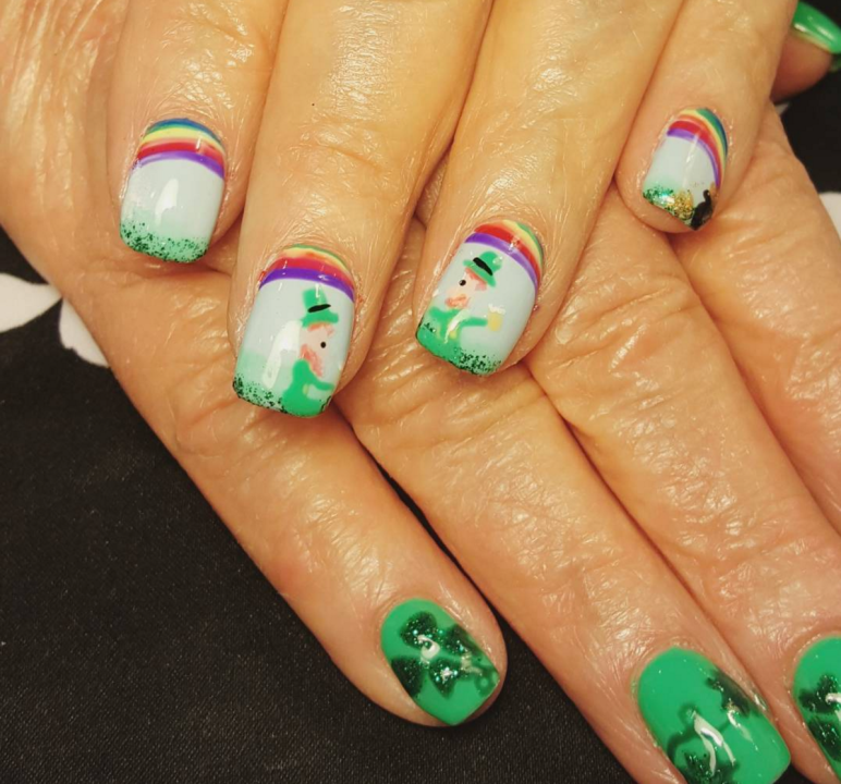 If you've got a seasoned manicurist, I suggest going full Irish by opting for the leprechaun accents.