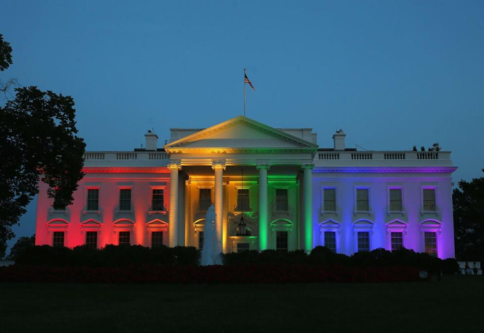 "<div class=""inline-image__caption""><p>Rainbow-colored lights shine on the White House to celebrate today's US Supreme Court ruling in favor of same-sex marriage June 26, 2015 in Washington, DC. Today the high court ruled 5-4 that the Constitution guarantees a right to same-sex marriage in all 50 states.</p></div> <div class=""inline-image__credit"">Mark Wilson/Getty</div>"