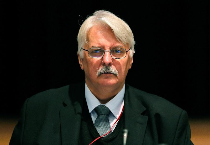 """Poland's new foreign minister Witold Waszczykowski, pictured on November 23, 2014, suggests Syrian refugees pouring into Europe can be trained to form an army and return to """"liberate"""" their homeland"""