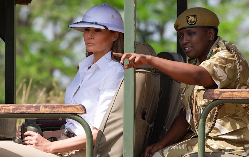 US First Lady Melania Trump goes on a safari with Nelly Palmeris, Park Manager at the Nairobi National Park in Nairobi