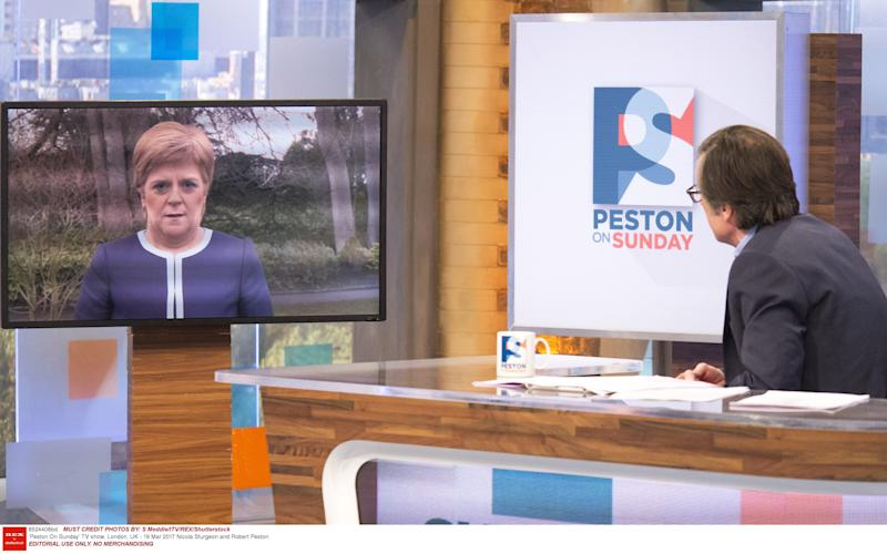 Nicola Sturgeon being interviewed by ITV's Robert Peston - Credit: S Meddle/ITV/REX/Shutterstock