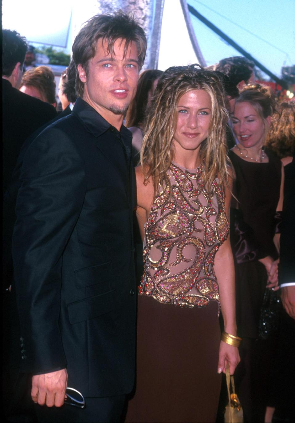 <p>Brad Pitt and Jennifer Aniston were married for for five years, from 2000 until 2005. The lovebirds appeared on numerous red carpets together and seemed to almost match each other's looks. Here's Brad channeling Jennifer's boho hairstyle with his own choppy 'do. Photo: Getty Images </p>