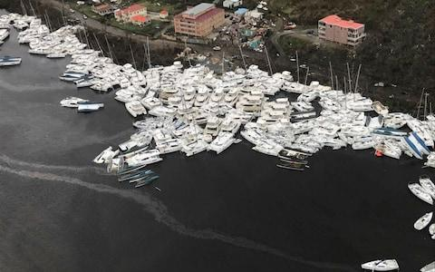 Boats clustered together after Hurricane Irma Friday, Sept. 8, 2017. - Credit: Caribbean Buzz