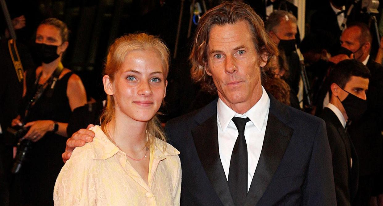 Hazel Moder, daughter of Julia Roberts, with her father Danny Moder at Cannes (Getty)