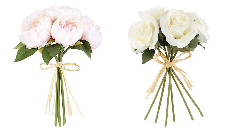 Kmart sells bunches of peonies and roses for $5 each.Photo: Kmart