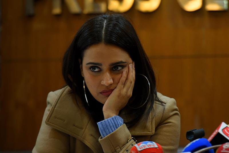 NEW DELHI, INDIA - DECEMBER 26: Bollywood actor Swara Bhaskar during a press conference on the Citizenship Amendment Act (CAA), at Press Club of India, on December 26, 2019 in New Delhi, India. Swara Bhasker and Zeeshan Ayyub addressed a press conference in Delhi and asked for an independent judicial probe into the violence against anti-CAA protesters in Uttar Pradesh. (Photo by Amal KS/Hindustan Times via Getty Images)