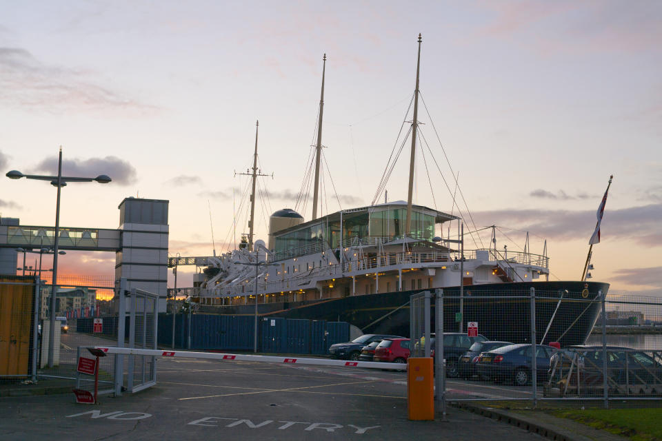 Edinburgh, United Kingdom - December 10, 2012: Her Majesty's Yacht Britannia, which was royal yacht of Queen Elizabeth II. From 1997 she is evening events venue berthed at Ocean Terminal, Leith in the dusk