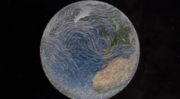 "An excerpt from ""Dynamic Earth,"" a 23-minute planetarium show, took first prize in the video category. The excerpt shows a solar wind hitting Earth and solar particles deflecting off the planet's magnetic shield. ["