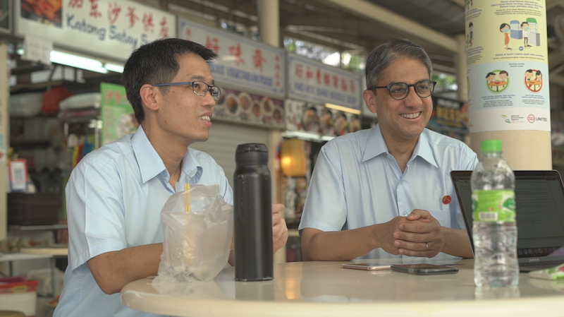 Former NCMPs Gerald Giam (L) and Leon Perera, Workers' Party candidates for Aljunied GRC, speak to Yahoo News Singapore on Friday, 3 July 2020. PHOTO: Nick Tan/Yahoo News Singapore