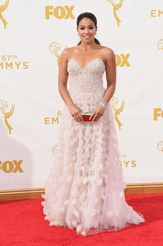 """<p>The breakout star of the year for her role in """"Jane the Virgin,"""" Gina Rodriguez looked like she fell from heaven in a white Lorena Sarbu gown. </p>"""