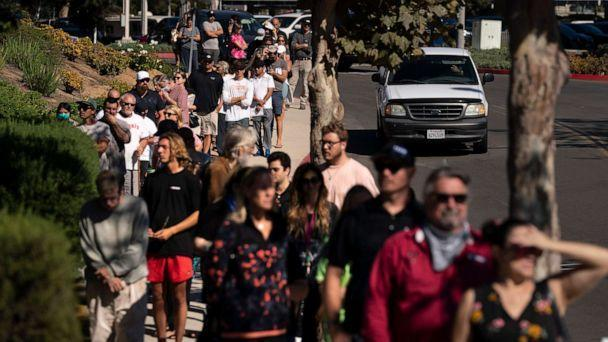 PHOTO: People wait in line to vote outside a vote center Tuesday, Sept. 14, 2021, in Huntington Beach, Calif. (Jae C. Hong/AP)
