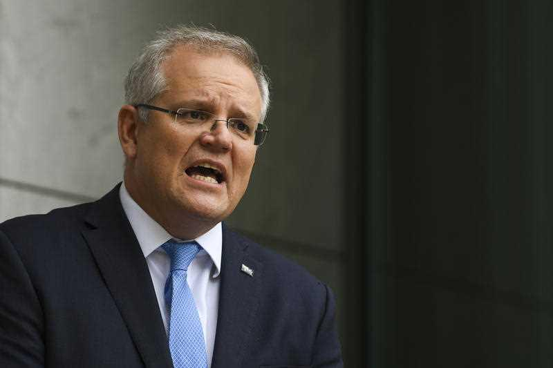 Australia's Prime Minister Scott Morrison is pictured. He has spoken to a number of world leaders, including Donald Trump, about the World Health Organisation.