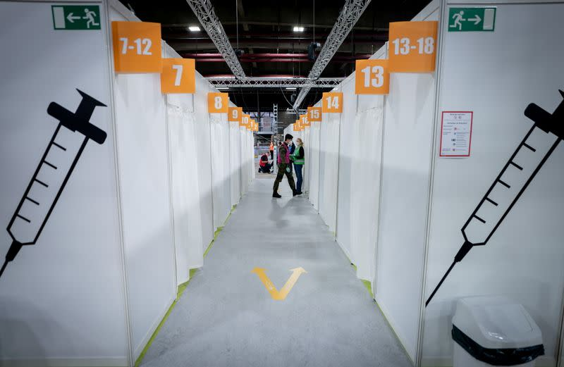 FILE PHOTO: Cabins at a vaccination centre set up in the Erika-Hess ice stadium to fight the coronavirus disease in Berlin