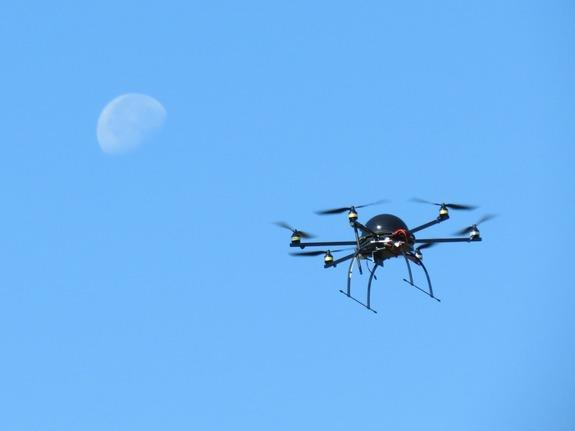 A NOAA hexacopter out for a spin. Scientists use the device to track marine life.