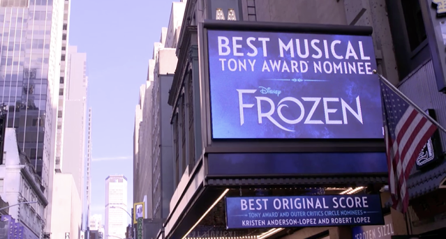 "Disney's newest Broadway show, ""Frozen,"" is nominated for the Best Musical Tony."