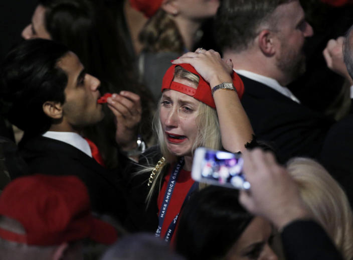 <p>A supporter celebrates as returns come in for Republican U.S. presidential nominee Donald Trump during an election night rally in Manhattan, New York, Nov. 8, 2016. (Photo: Mike Segar/Reuters) </p>