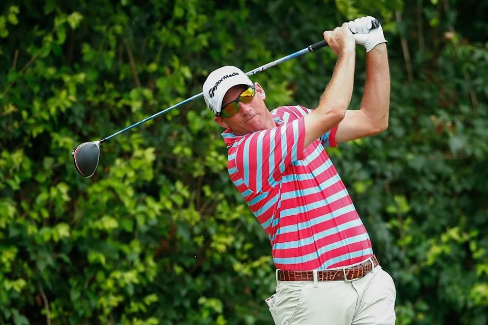 Jim Herman teed off on the 3rd hole during the final round of the PGA Barbasol Championship on July 21, 2019. Herman earned $630,000 for his victory.