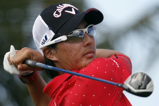 Japan's Ryo Ishikawa watches his drive from the 10th hole tee during the second round of the Puerto Rico Open PGA golf tournament in Rio Grande, Puerto Rico, Friday, March 7, 2014. (AP Photo/Ricardo Arduengo)