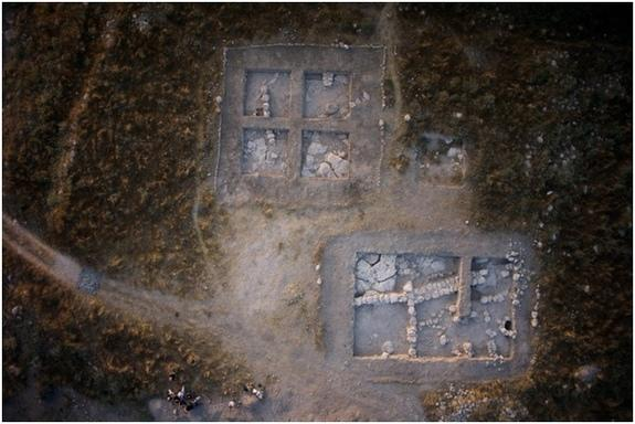 The foundations of the ancient cult complex in Israel were made of field stone (shown here).