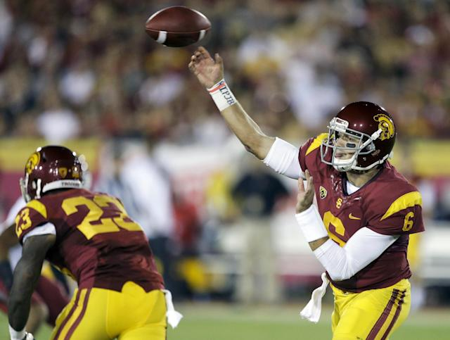 Southern California quarterback Cody Kessler, throws against Washington State during the first half of an NCAA college football game in Los Angeles, Saturday, Sept. 7, 2013. (AP Photo/Chris Carlson)