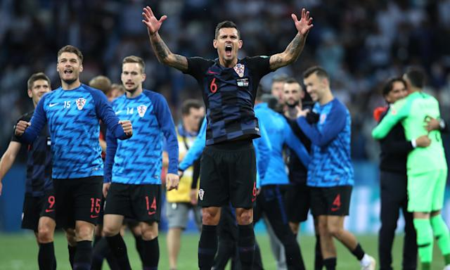 Dejan Lovren is at the centre of Croatia's celebrations after their 3-0 World Cup win over Argentina. 'We can go far,' the defender says.