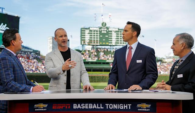 ESPN baseball analysts talk on Baseball Tonight before a Chicago Cubs game in June 2017 (Getty)