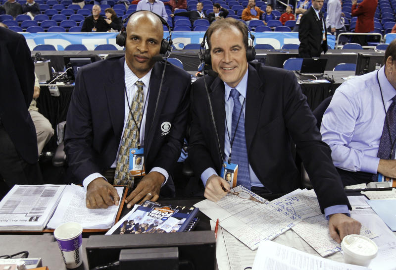 FILE - In this Monday, April 5, 2010, file photo, CBS sportscasters Clark Kellogg, left, and Jim Nantz are seen before the men's NCAA Final Four college basketball championship game between Butler and Duke, in Indianapolis. Nantz is home in California in the early spring of 2020 because of the new coronavirus pandemic, after spending the last 34 years at the Final Four and Masters. (AP Photo/Michael Conroy, File)