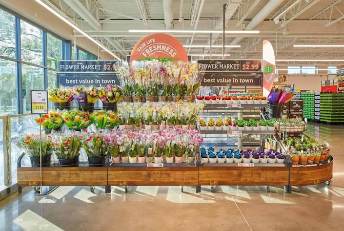 Fresh flowers in a Lidl store.
