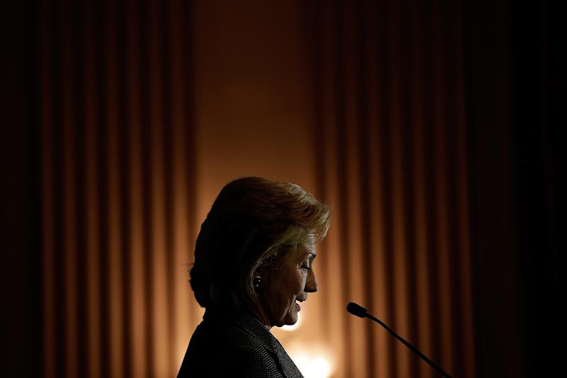 WASHINGTON, DC - DECEMBER 06: Former U.S. Secretary of State Hillary Clinton delivers remarks after being presented the 2013 Tom Lantos Human Rights Prize December 6, 2013 in Washington, DC. Clinton received the award for her work in the areas of women's rights and internet freedom. (Photo by Win McNamee/Getty Images)