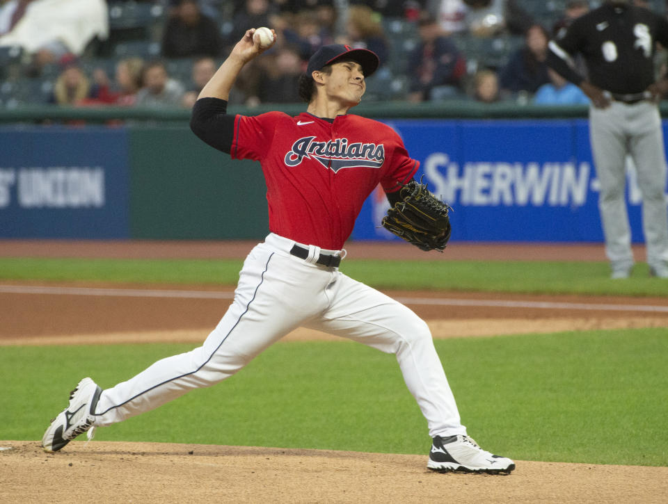 Cleveland Indians starting pitcher Eli Morgan delivers against the Chicago White Sox during the first inning of a baseball game in Cleveland, Saturday, Sept. 25, 2021. (AP Photo/Phil Long)