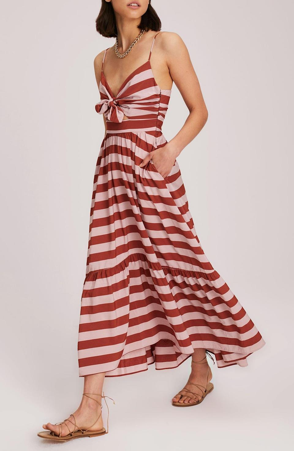 <p>This splurge-worthy <span>A.L.C. Laurel Stripe Sundress</span> ($595) is a great choice to pack on your next getaway.</p>