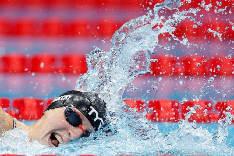 Katie Ledecky competes in the final of the women's 800m freestyle at the Tokyo Olympics