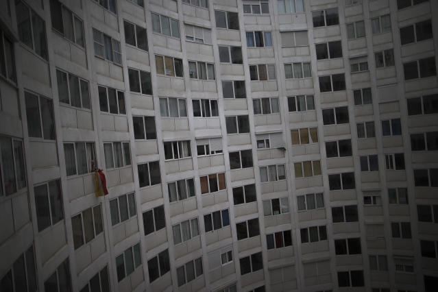 <p>A view of the building where Antonia Ortega and her family live on the day of their pending eviction, in Madrid, Feb. 24, 2014. (AP Photo/Andres Kudacki) </p>