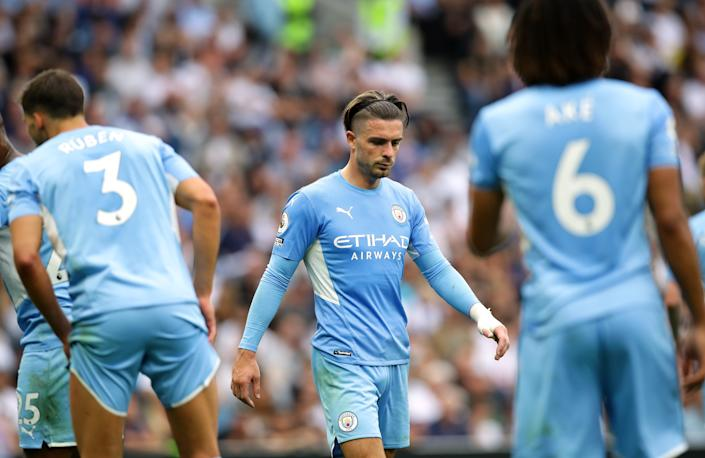 Manchester City's newest signing Jack Grealish during their Premier League match against Tottenham Hotspur.
