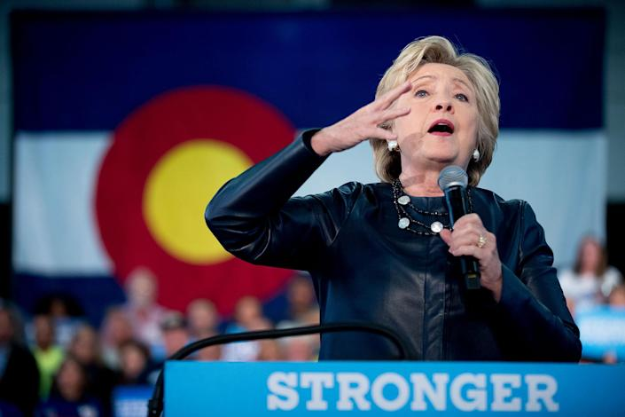 <p>Hillary Clinton speaks at a rally at the Colorado State Fairgrounds in Pueblo, Colo., Wednesday, Oct. 12, 2016. (AP Photo/Andrew Harnik) </p>