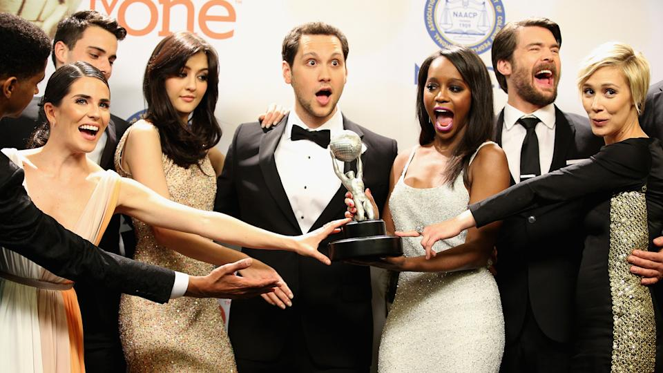 PASADENA, CA - FEBRUARY 06:  (L-R) Actor Alfred Enoch, actress Karla Souza, actor Jack Falahe, actress Katie Findlay, actor Matt McGorry, actress Aja Naomi King, actor Charlie Weber and actress Liza Weil of 'How to Get Away with Murder,' winner of the Outstanding Drama Series award, pose in the press room during the 46th NAACP Image Awards presented by TV One at Pasadena Civic Auditorium on February 6, 2015 in Pasadena, California.
