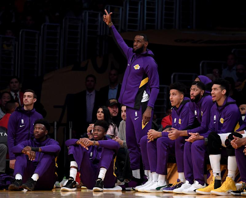 LOS ANGELES, CALIFORNIA - OCTOBER 14: LeBron James #23 of the Los Angeles Lakers reacts to a the Laker offense during the first half against the Golden State Warriors at Staples Center on October 14, 2019 in Los Angeles, California. (Photo by Harry How/Getty Images)