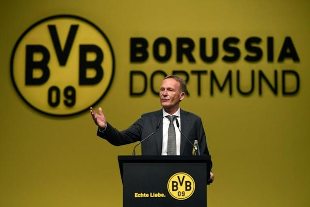 Hans-Joachim Watzke has ruled out Dortmund making any big-money signings for 2020/21. (AFP Photo/INA FASSBENDER)
