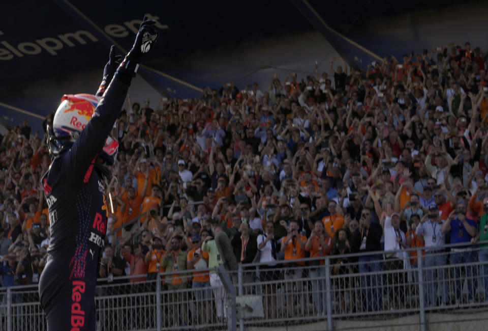 Red Bull driver Max Verstappen of the Netherlands celebrates after winning the Formula One Dutch Grand Prix, at the Zandvoort racetrack, Netherlands, Sunday, Sept. 5, 2021. (AP Photo/Francisco Seco)
