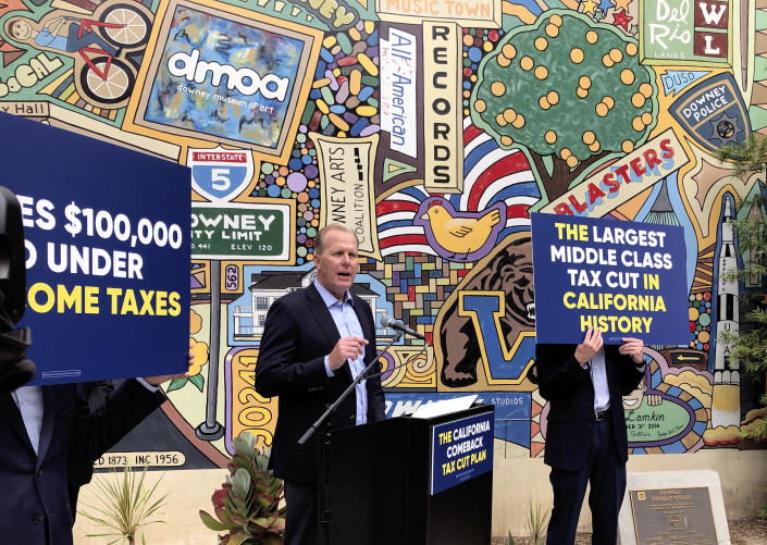 FILE - In this May 12, 2021, file photo, Kevin Faulconer, a Republican candidate for California governor, speaks during a news conference, in Downey, Calif. Faulconer was twice elected mayor of Democratic-leaning San Diego and left office last year. He was an early entrant in the recall race and has long been seen as a potential statewide candidate, given his centrist credentials in strongly Democratic California. (AP Photo/Michael R. Blood, File)