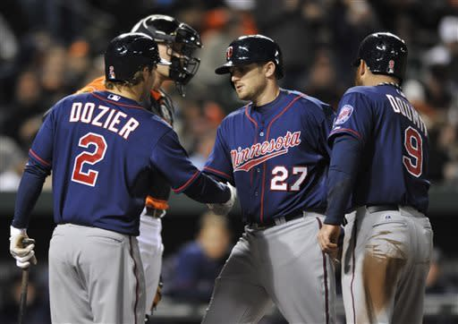 Minnesota Twins' Chris Parmalee, (27) is congratulated by Brian Dozier (2) and Ryan Doumit (9) after hitting a two-run home run against the Baltimore Orioles in the third inning of a baseball game on Saturday, April 6, 2013 in Baltimore. (AP Photo/Gail Burton)