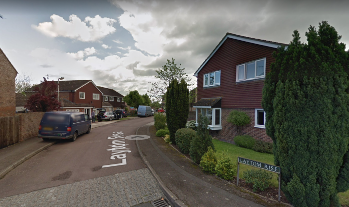 The incident happened in Laytom Rise, Reading, when seven gunshots were fired into a Honda Jazz. (Google Maps)