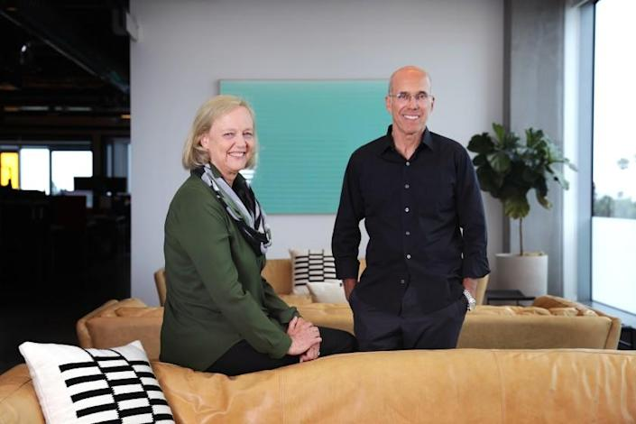 "Quibi's chief executive, Meg Whitman, and chairman, Jeffrey Katzenberg, aren't flustered by the platform's start. <span class=""copyright"">(Christina House / Los Angeles Times)</span>"