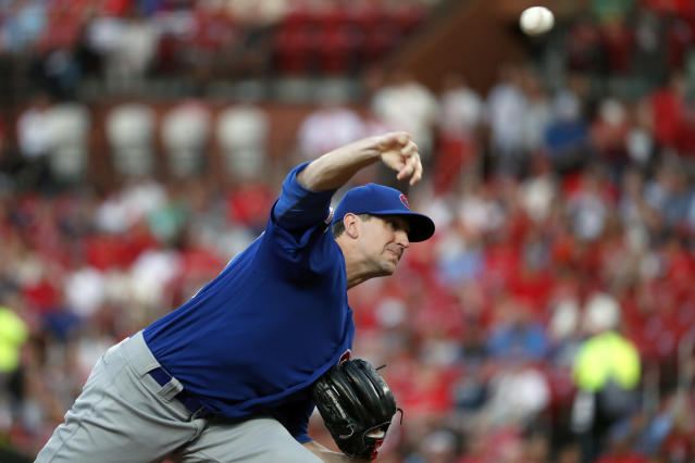 Chicago Cubs starting pitcher Kyle Hendricks throws during the first inning of the team's baseball game against the St. Louis Cardinals on Wednesday, July 31, 2019, in St. Louis. (AP Photo/Jeff Roberson)