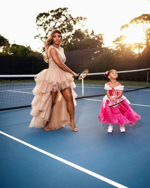 """<p>Proving she's the funnest mum around, Williams shared an epic at-home photoshoot with daughter Olympia on Instagram showing the pair playing tennis all in their finest attire. The tennis pro wore a tulle gown by GLAUDI by Johana Hernandez.</p><p><a href=""""https://www.instagram.com/p/CMc1Woqn9aY/"""" rel=""""nofollow noopener"""" target=""""_blank"""" data-ylk=""""slk:See the original post on Instagram"""" class=""""link rapid-noclick-resp"""">See the original post on Instagram</a></p>"""