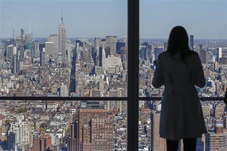 The Manhattan skyline is seen from the 68th floor of the 4 World Trade Center tower in New York, November 13, 2013. REUTERS/Shannon Stapleton