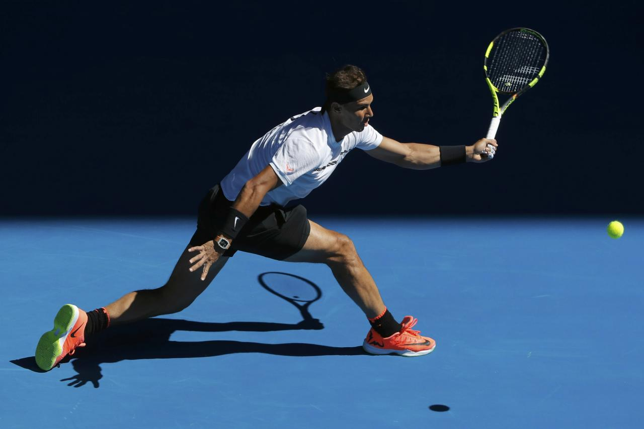 Tennis - Australian Open - Melbourne Park, Melbourne, Australia - 21/1/17 Spain's Rafael Nadal hits a shot during his Men's singles third round match against Germany's Alexander Zverev. REUTERS/Jason Reed